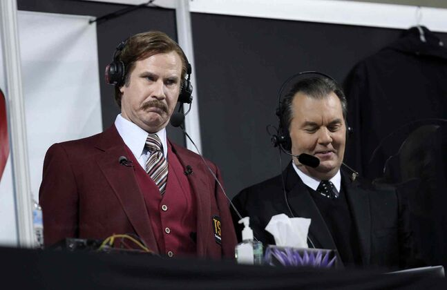 Ron Burgundy and legendary TSN curling broadcaster Vic Rauter (right) call the shots.