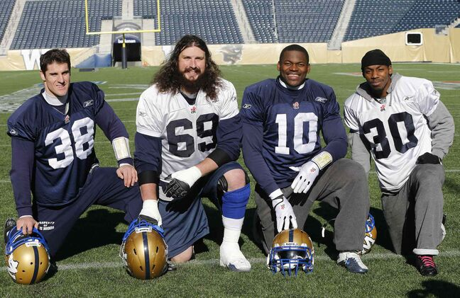From left, the Bombers award nominees: Ian Wild, Glenn January, Henoc Muaba and Will Ford.