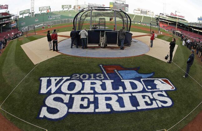 Fenway Park is set up for Game 6 of the 2013 World Series.