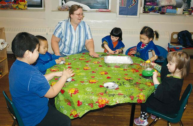 Debby Holmes works with children at one of the five locations of Harstone Children's Centre.