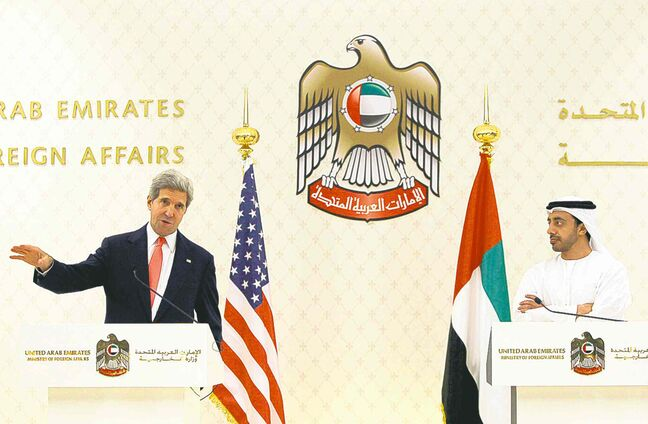 John Kerry (left) and UAE foreign affairs minister Sheikh Abdullah bin Zayed Al Nahyan at a news conference in Abu Dhabi last year.