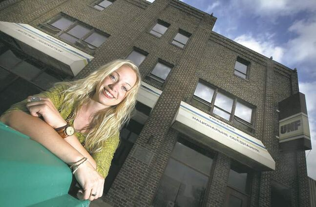 Larissa Peck outside her favourite place, the Ukrainian  National Federation hall at 935 Main St.