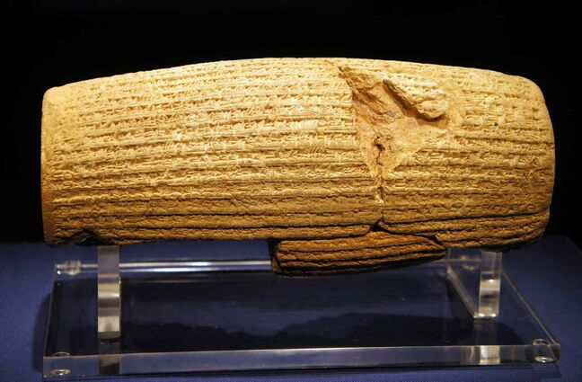 The original Cyrus Cylinder is owned by the British Museum in London. It sponsored the expedition in 1879 during which the cylinder was discovered in the ruins of Babylon in Mesopotamia (modern Iraq). A replica will be on display in Winnipeg Tuesday.