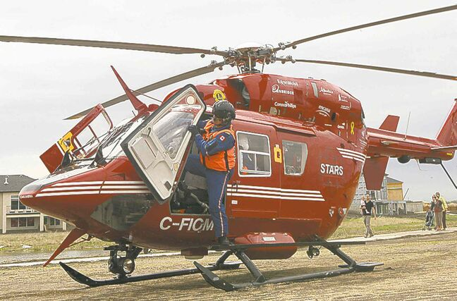 The STARS helicopter was used to transport three people to Winnipeg after they were injured in a fire in St. Georges.