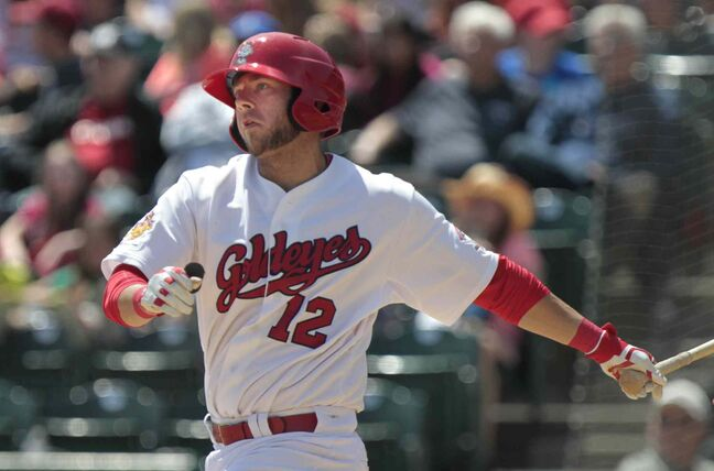 Winnipeg Goldeyes First baseman Casey Haerther hit for a .629 average, took four walks, and slammed out five doubles, three home runs and 11 RBI in eight games last week.