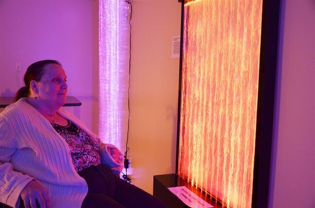 Marya Brown, 61, relaxes in a Snooze Room at the Island Health facility in Victoria, B.C. in a recent handout photo. THE CANADIAN PRESS/HO, Bill Blair