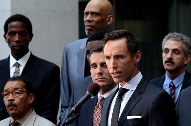 L.A. Lakers point guard Steve Nash speaks during a press conference Tuesday at L.A. City Hall while flanked by former and current professional basketball players and politicians as he comments about a lifetime ban imposed by the National Basketball Association on Clippers owner Donald Sterling.