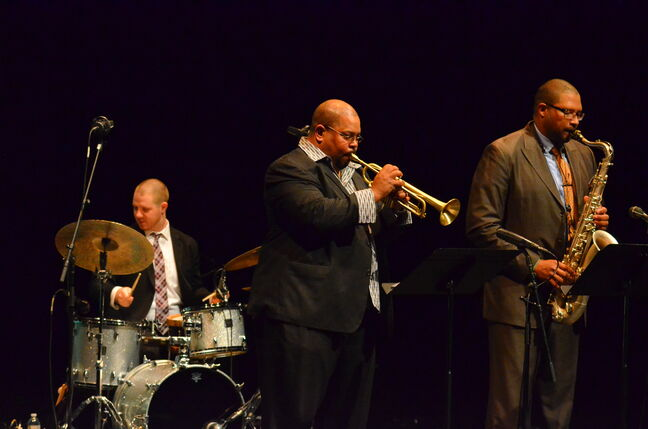 From left, Curtis Nowosad, Derrick Gardner and Jimmy Greene were in top form Monday night.
