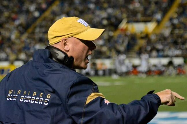 Winnipeg Blue Bombers head coach Paul LaPolice reacts during their 32-25 victory over the Hamilton Tiger-Cats on August 16.
