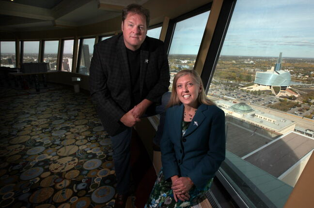 Noel Bernier, with Kathi Neal of Friends of the CMHR, will open the Prairie 360 Skyline Restaurant & Lounge with a fundraiser for the museum on Nov. 9.