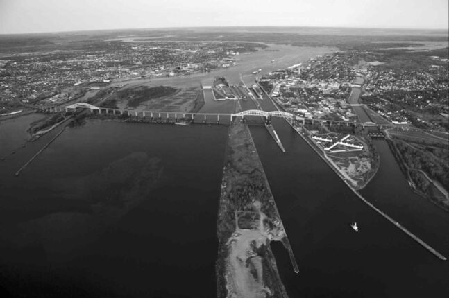 A view of the International Bridge connecting Sault Ste. Marie, Ont., with its Michigan counterpart.