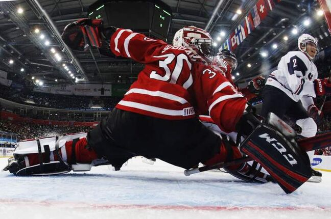 Team Canada goalie Malcolm Subban makes a save against the U.S.