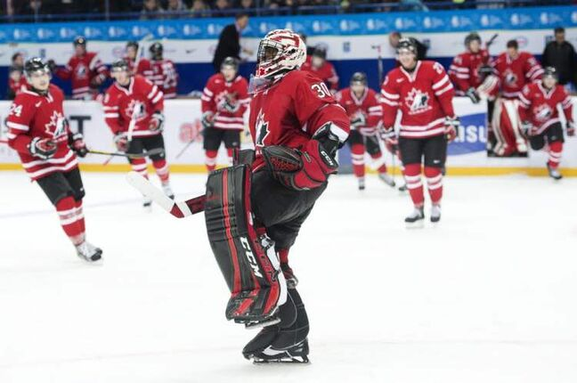 Goalie Malcolm Subban celebrates as the clock runs out on Canada's victory.