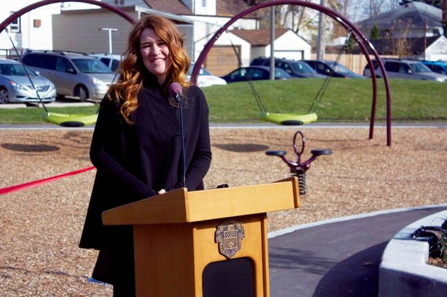Six-time Olympic medallist Clara Hughes is shown at the grand opening of the Clara Hughes Recreation Park on Oct. 15.