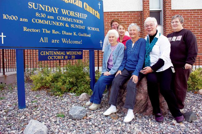 Rev. Diane Guilford of St. Stephen's Anglican Church (second from right) is excited to celebrate the church's 100th anniversary weekend with parishioners Tracy Peacock, Gwen Aubertin, Eileen Jonasson, Marie Kasper and Bonnie Main, who have all put several years of planning into the event.
