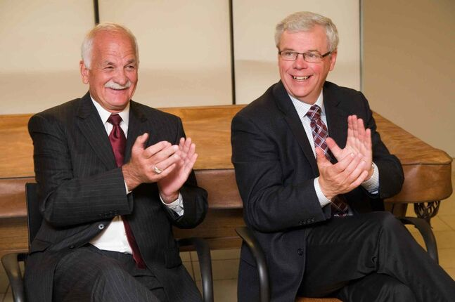 Vic Toews, then public safety minister, and Premier Greg Selinger at a joint government announcement in 2010. Will Toews, as a lobbyist, be able to sway the NDP?