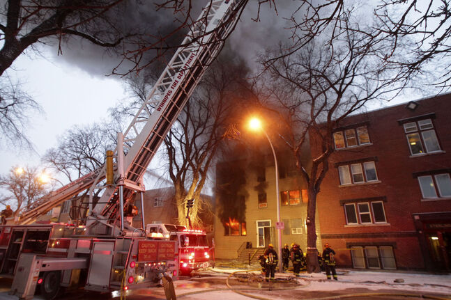 A fire engulfs block at 577 Sherbrook St.