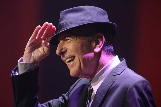 Leonard Cohen greets the crowd Friday night at the MTS Centre.