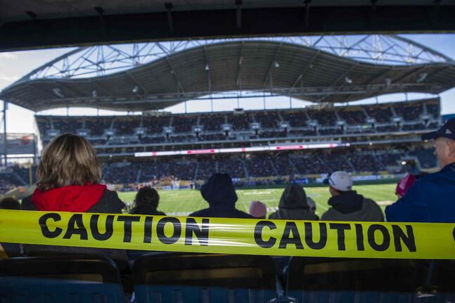 Fans take in the final Winnipeg Blue Bombers game of the season at Investors Group Field.