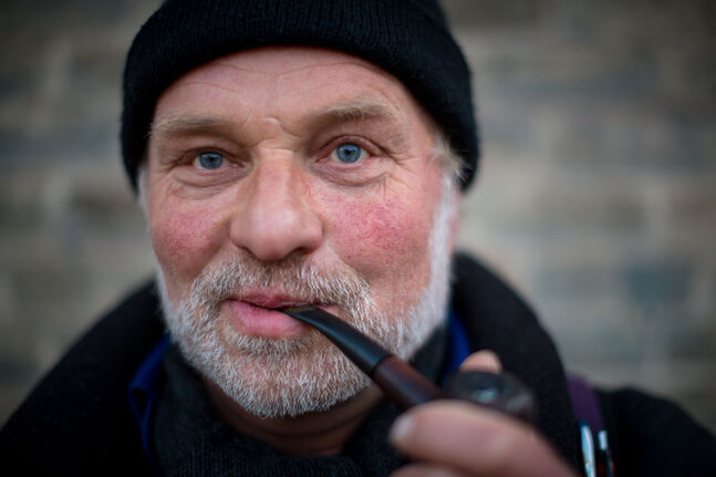Juergen and his tobacco pipe. Juergen couldn't speak English very well, but he was kind enough to pause for a portrait. Day 28. (MELISSA TAIT / WINNIPEG FREE PRESS)