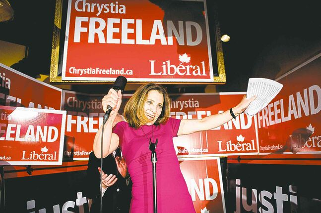 Liberal candidate Chrystia Freeland celebrates after winning  the federal byelection in Toronto Centre on Monday.