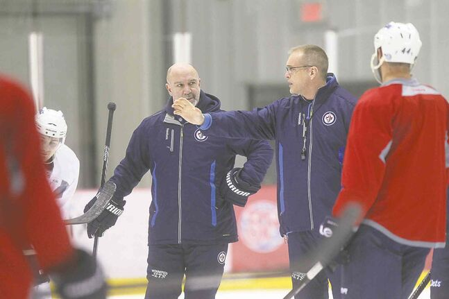 Jets coach Paul Maurice barks orders at the Iceplex during Saturday afternoon's practice.
