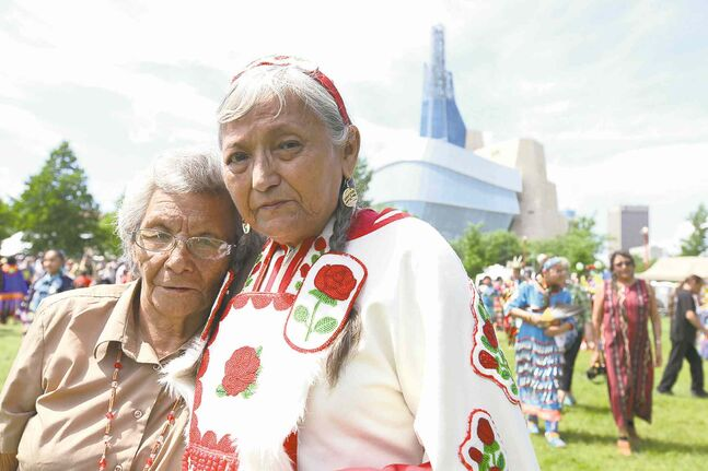 Gloria Chocan (right) and her sister Rosalie Chokin at The Forks. Gloria and 10 other Cree women recently held a peaceful protest on Parliament Hill.