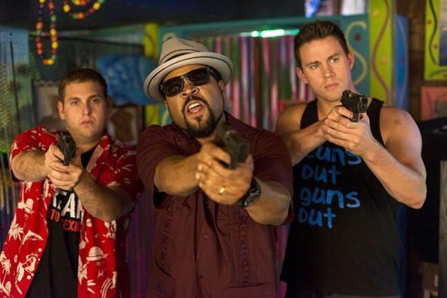 This image released by Sony Pictures shows Jonah Hill, from left, Ice Cube, and Channing Tatum in Columbia Pictures'