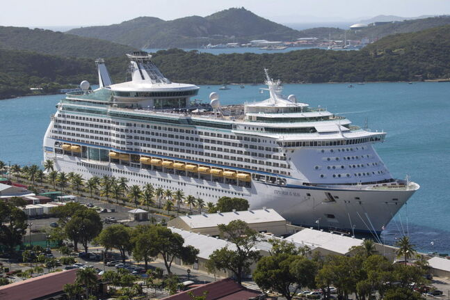 The Royal Caribbean International's Explorer of the Seas is docked at Charlotte Amalie Harbor in St. Thomas, U. S. Virgin Islands on Jan. 26, 2014. U.S. health officials investigated an illness outbreak that left 300 people with gastrointestinal symptoms including vomiting and diarrhea.