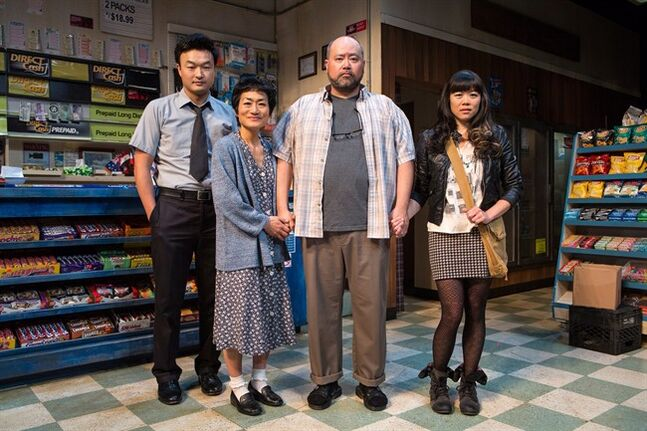 Ins Choi, Jean Yoon, Paul Sun-Hyung Lee and Grace Lynn Kung star in Soulpepper's Kim's Convenience.