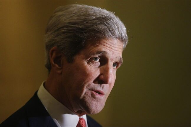 Secretary of State John Kerry speaks to reporters as he meets with U.N. Secretary General Ban Ki-Moon in Cairo, Egypt, Monday, July 21, 2014. Kerry has returned to the Middle East as the Obama administration attempts to bolster regional efforts to reach a cease fire and sharpens its criticism of Hamas in its conflict with Israel. (AP Photo/Charles Dharapak, Pool)