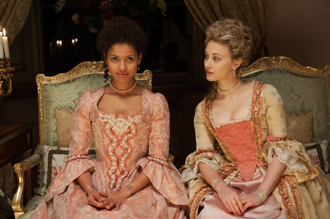 This photo released by Fox Searchlight shows Gugu Mbatha-Raw, left, as Dido Elizabeth Belle and Sarah Gadon as Lady Elizabeth Murray, in a scene from the film,