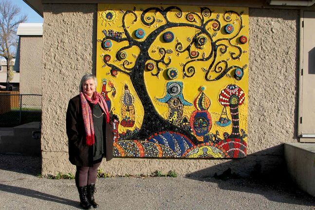 Ursula Neufeld is the artist behind Elwick Village and Resource Centre's new mosaic.