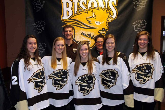 Alexandra Anderson (far left) was recruited by the Manitoba Bisons women's hockey team for its 2014-2015 season.