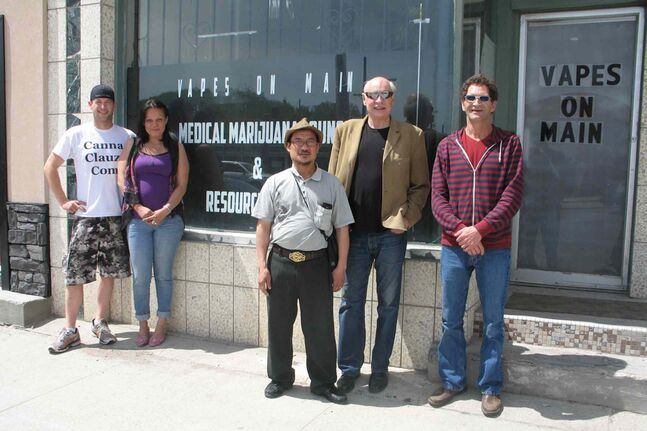 Medical marijuana activist Jamie Friesen, Vapes on Main directors Lee-Anne Kent, John Tran and Bill VanderGraff and Vapes visitor Yvan Maltais. Vapes is Winnipeg's first medical marijuana lounge.