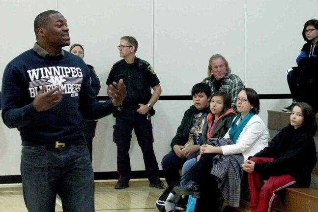 Winnipeg Blue Bombers linebacker Henoc Muamba speaks to about Winnipeg School Division students about nutrition and fitness at the second annual Youth Wellness Conference.