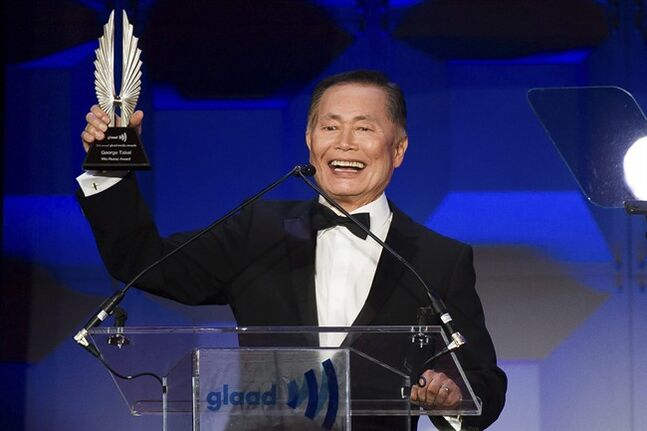 George Takei accepts the Vito Russo Award at the GLAAD Media Awards on Saturday, May 3, 2014 in New York.