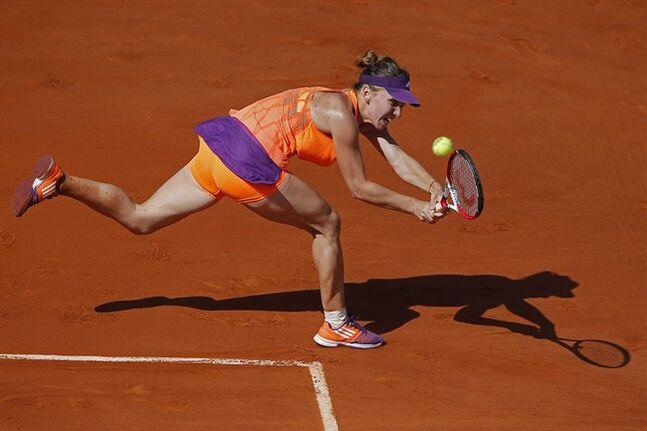Romania's Simona Halep returns the ball during final of the French Open tennis tournament against Russia's Maria Sharapova at the Roland Garros stadium, in Paris, France, Saturday, June 7, 2014. (AP Photo/David Vincent)