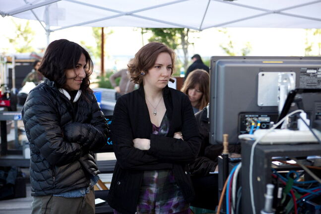 Executive Producer Jenni Konner and series star/Executive Producer Lena Dunham, right, are shown on the set of Girls, Season 1.