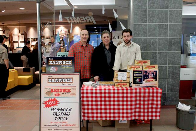 Ted Bozyk (left), Phil Faraci, and Anthony Faraci have been selling Bannock-in-a-Box out of their pop-up shop as part of the Downtown Winnipeg BIZ's campaign,  the Launch It! Youth Entrepreneurship Incubator and Pop Up Shop project.