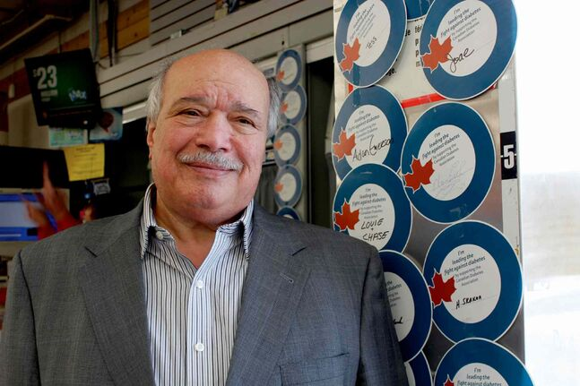 Moe Zeid, who has Type 2 diabetes, is helping the Canadian Diabetes Association raise money for programs and services by selling blue circles for the CDA's Blue Circle Campaign at his Winnipeg Food Fare stores.