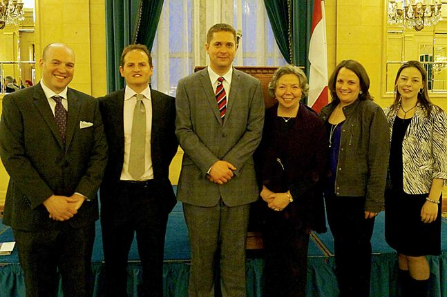 Winnipeg South Centre MP Joyce Bateman with Speaker Andrew Scheer and local teachers.