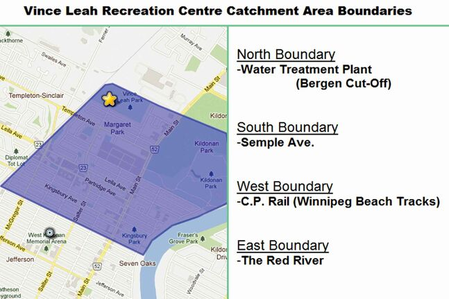 This map shows the boundaries of the Vince Leah Recreation Centre's catchment area.