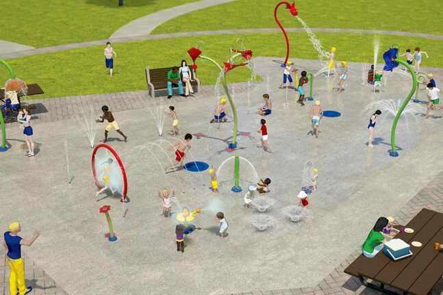 A concept image shows how the splash pad at Sturgeon Heights Community Club, which will be expanded starting this fall, will look upon completion.