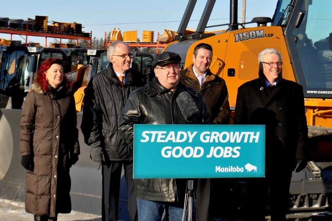 (L-R) Sharon Blady, Minister of Healthy Living, Steve Ashton, Minister of Infrastructure and Transportation, Chris Lorenc, President of the Manitoba Heavy Construction Association, St. Norbert MLA Dave Gaudreau and Premier Greg Selinger.