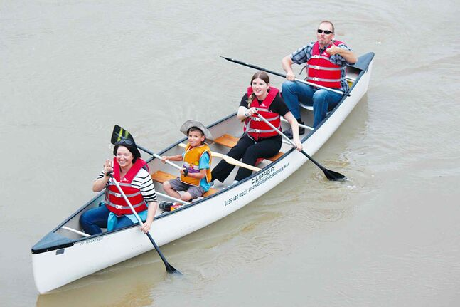 The Henwood family - Sandra, Jonah, Haley and Ron - enjoy an outing on one of Winnipeg's rivers.