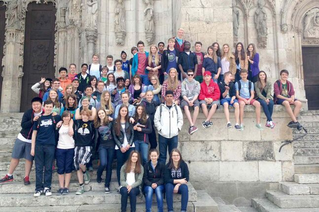 Canadian and German students at the St. Peter's Cathedral in Regensburg, Germany — a prime example of Gothic architecture.