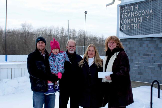 (From left) Mike Hedley, VP of of the South Transcona Community Centre; his daughter Nora; Daryl Reid, MLA for Transcona; Louise Hedman, grants and project manager with the South Transcona Community Centre; and Erna Braun, Minister of Labour and Immigration.