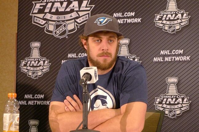 Los Angeles Kings' Anze Kopitar attends a media availability at a hotel near thier practice facility in El Segundo, Calif., Thursday, June 5, 2014. THE CANADIAN PRESS/Neil Davidson