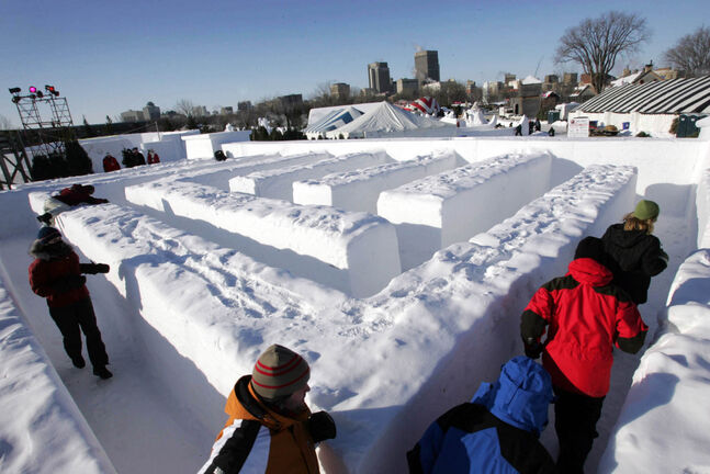 Visitors take part in a snow maze Festival du Voyageur in 2007.
